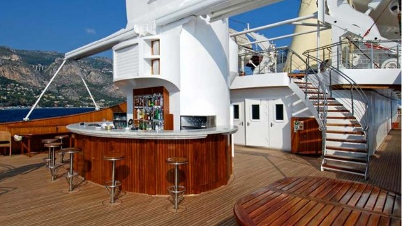 When not lounging by the top deck bar, more adventurous guests can test out the on board  jetskis and windsurf equipment.