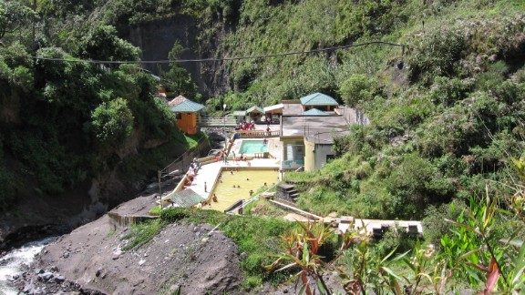 """Tungurahua's """"lahars"""" or mud flows threatened the El Salado Baths in the town of Banos in 2005, says volcanologist Rebecca Williams.<br />"""