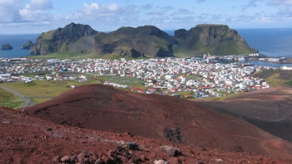 This serene view from Eldfell volcano in Iceland belies the volcano's dramatic history. Eldfell was thought to be extinct before suddenly erupting in 1973, spurring the evacuation of the Icelandic island of Heimaey.