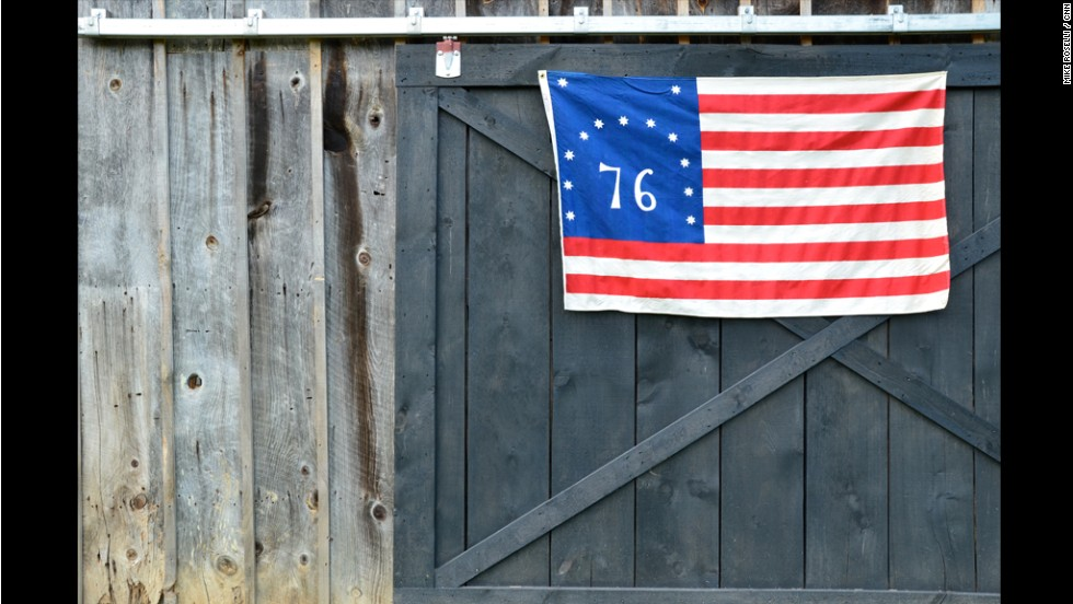 A commemorative 1776 flag -- Woodstock, Virginia.  The town was established 1761.  Its charter was sponsored by George Washington in Virginia's House of Burgesses.  Its courthouse was designed by Thomas Jefferson.