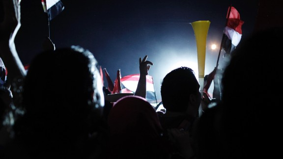 Protesters in Tahrir Square celebrate the news that Morsy was ousted on July 3.