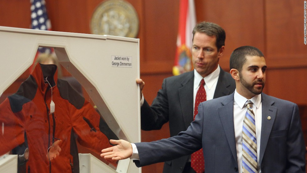 Gorgone points to a jacket worn by Zimmerman on the night of the shooting. Multiple stains on Zimmerman's jacket tested positive for Zimmerman's DNA. At least two stains from the jacket tested positive for a mixture of DNA that included Martin's DNA.