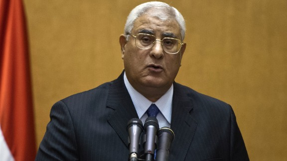 Adly Mansour is pictured at his swearing-in ceremony as the country
