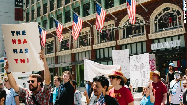 """Restore the Fourth"" protesters in San Francisco on Thursday call for an end to government surveillance programs."