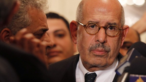 Egyptian opposition leader and Nobel Prize laureate Mohamed ElBaradei leaves at the end of a joint press conference on November 22, 2012, in Cairo.