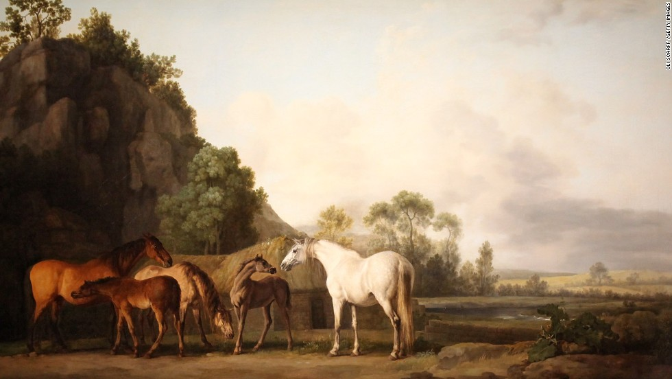 "Stubbs' ""Mares and Foals in a River Landscape"" was finished in 1767. Stubbs was a keen anatomical  illustrator before his move into painting -- allowing him to capture accurate portraits of horses with a vigor which escaped many of his contemporaries."