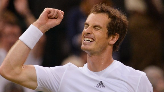 Andy Murray shows what it means to reach his second straight Wimbledon final after beating Jerzy Janowicz.