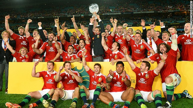 The British and Irish Lions celebrate after sealing a 2-1 series win over Australia in Sydney.