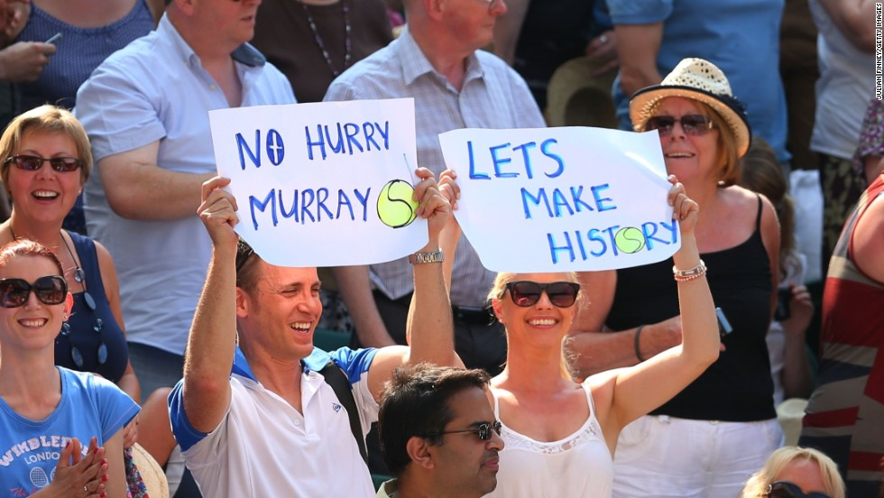 With Murray leading 2-0, the home fans began to believe their man could finally end the 77-year wait for a British men's singles winner.