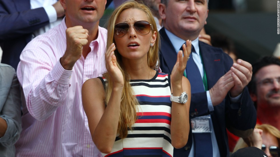 Jelena Ristic, the girlfriend of Djokovic, leads the cheers for her man who appeared to struggle against Murray in the opening two sets.