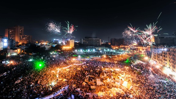 Opponents of Mohamed Morsy gather at Tahrir Square during a protest in Cairo on Sunday, July 7.