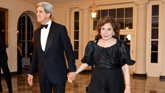 John Kerry accompanied his wife by ambulance to the hospital, Kerry's spokesman said.
