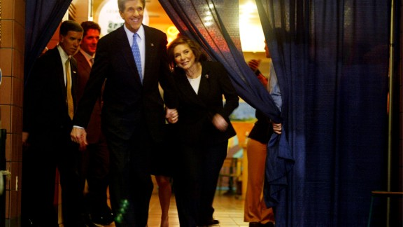 John Kerry and his wife hold hands during a political rally on March 2, 2004, in Washington.