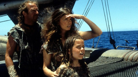 """""""Waterworld"""" (1995): Kevin Costner got a lot of flak for this film, in its day the most costly of all time. Nicknamed """"Kevin's Gate,"""" the film got more attention for its budget than its action -- which, finally, wasn't bad. It even did decently at the box office. But try telling that to people now. Jeanne Tripplehorn, center, and Tina Majorino co-starred with Costner."""