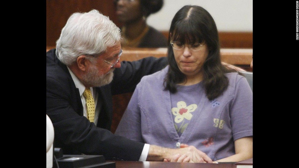 Andrea Yates sits with her attorney George Parnham after a verdict of not guilty by reason of insanity was read in her retrial on July 26, 2006. In 2007, she was transferred from North Texas State Hospital, Vernon Campus, to Kerrville State Hospital in Kerrville, Texas, where she currently resides.