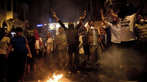 Protests on Istiklal Avenue in Istanbul on July 8, 2013.