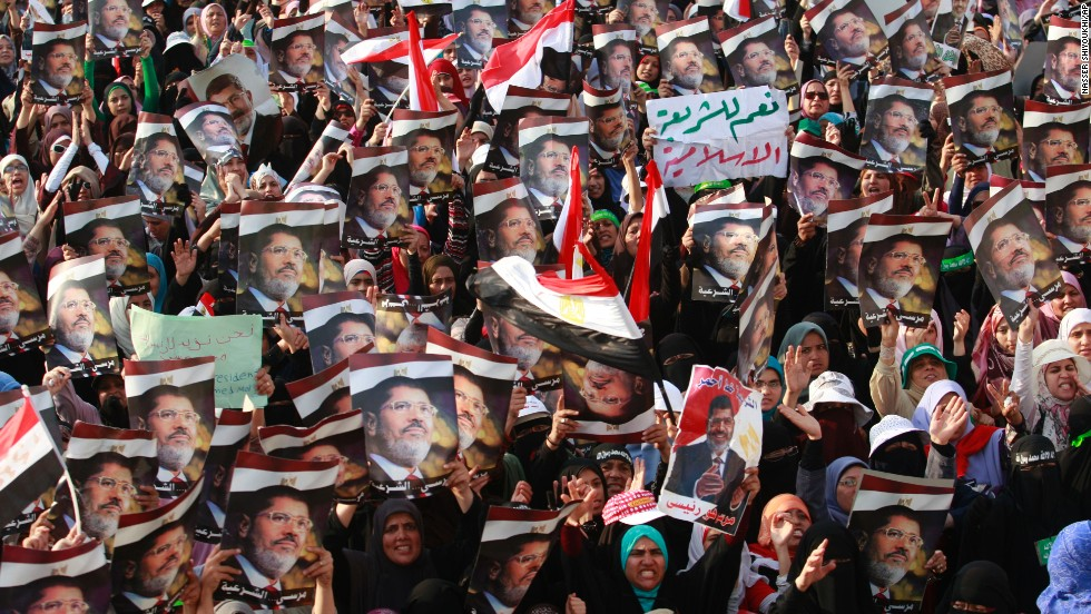 Supporters of the deposed Morsy rally in Nasr City, Egypt, a suburb of Cairo, on Monday, July 8.