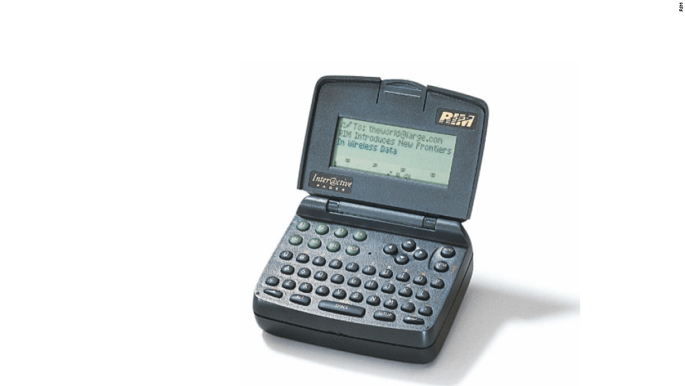 The BlackBerry's closest predecessor, this clamshell device introduced in 1996, was the first two-way messaging pager.
