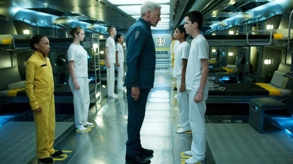 """Harrison Ford, Suraj Partha and Asa Butterfield in """"Ender"""
