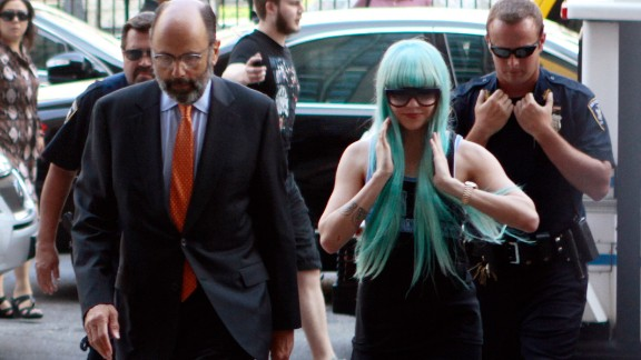 Bynes and attorney Gerald Shargel arrive for a court appearance in New York on July 9, 2013. She was charged with reckless endangerment and attempting to tamper with physical evidence. The case was later dismissed.