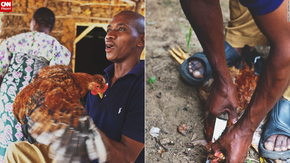 A man named Abdul butchered a live chicken.