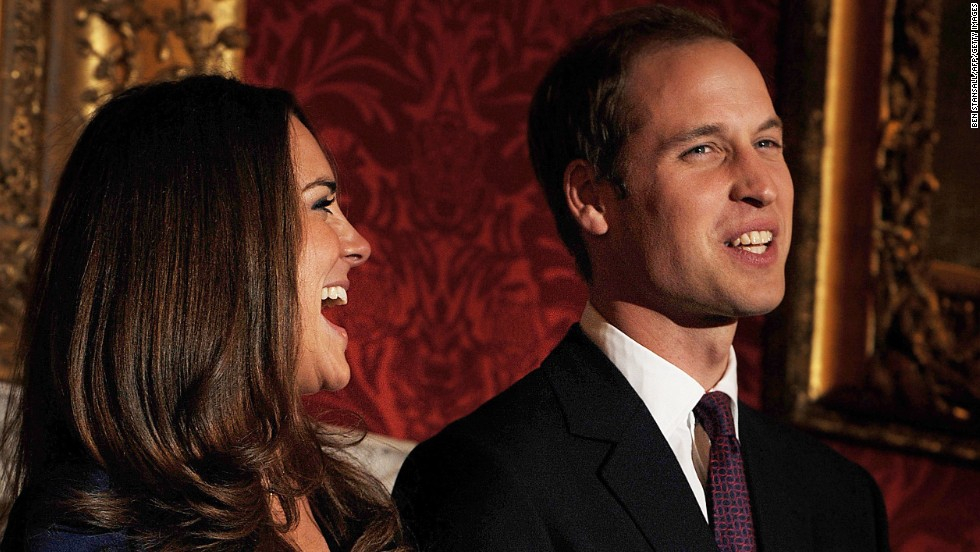The couple poses for photographers to mark their engagement in November 2010. Catherine received the engagement ring that belonged to William's late mother, Diana.
