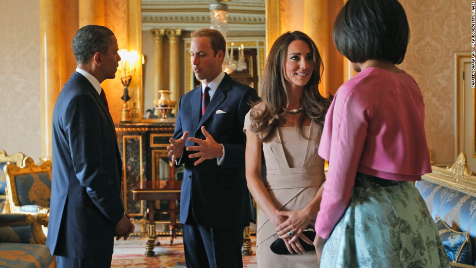 US President Barack Obama and first lady Michelle Obama meet with the royal couple at Buckingham Palace in May 2011.