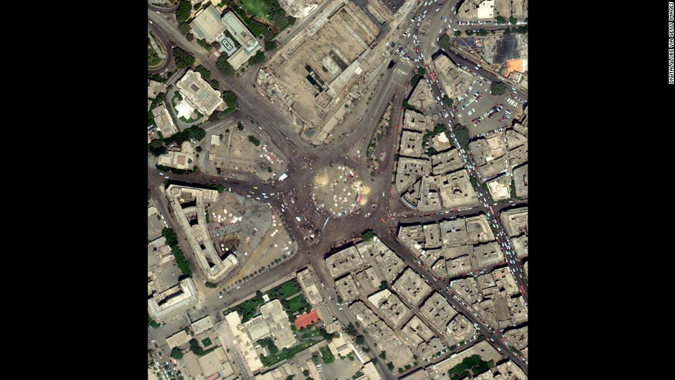 "A satellite image shows Cairo's Tahrir Square, where large groups <a href=""http://www.cnn.com/2013/07/02/world/meast/egypt-protests/index.html?hpt=hp_c2"">have demonstrated and celebrated the ouster of Mohamed Morsy</a>, Egypt's first democratically elected president. Photographers have sought vantage points far above the crowds, enabling them to show the enormity of the gatherings in the Egyptian crisis. Click through the gallery for more aerial views of the demonstrations."