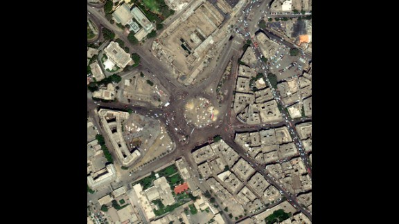 A satellite image shows Cairo's Tahrir Square, where large groups have demonstrated and celebrated the ouster of Mohamed Morsy, Egypt's first democratically elected president. Photographers have sought vantage points far above the crowds, enabling them to show the enormity of the gatherings in the Egyptian crisis. Click through the gallery for more aerial views of the demonstrations.