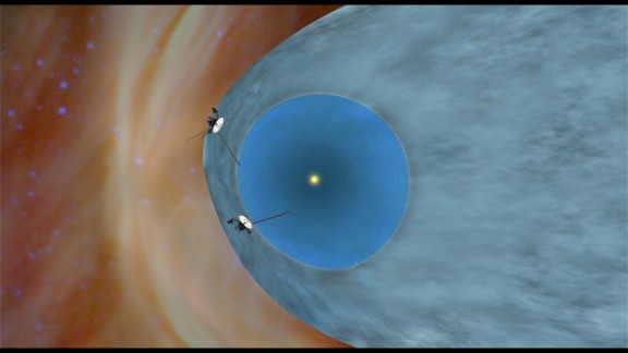 The two Voyager spacecraft are exploring a turbulent area called the heliosheath, as shown in this illustration.