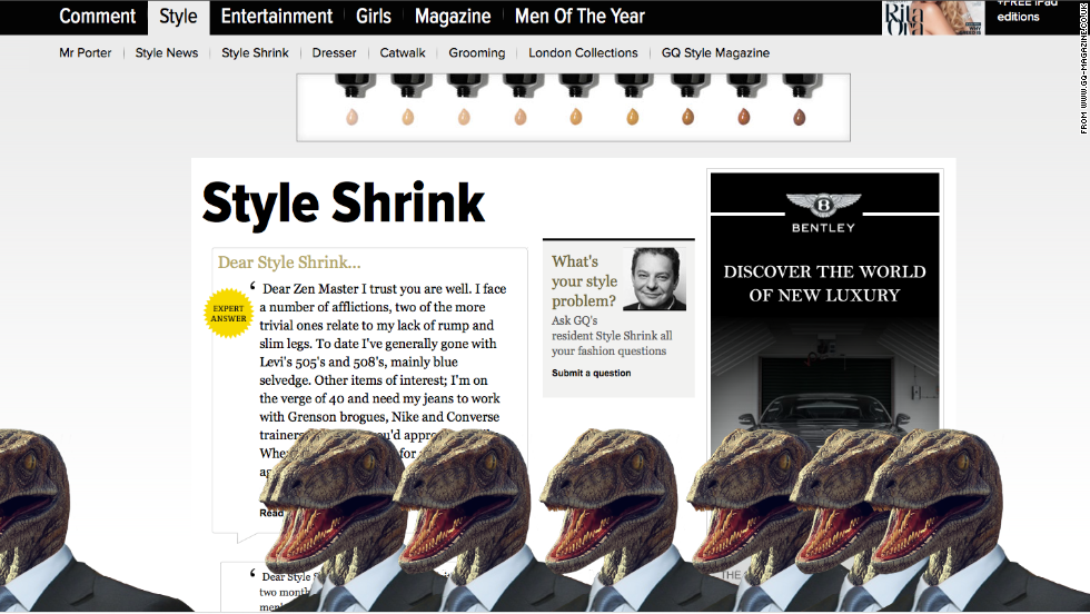 Dapper dinosaurs take over Conde Nast UK websites - CNN
