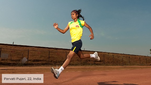 Parvati Pujari, 22, grew up in a Mumbai shantytown and saw her eldest sister get married at the age of 12. With the help of a local non-governmental organization, Parvati attended school and resisted her parents' plans for an early marriage.  With a flair for sports, Parvati started working in junior sports development for Magic Bus, an organization that had supported her since she was a child, while studying for a degree in commerce. She also participates in sports such as rugby at national level and for local football teams.