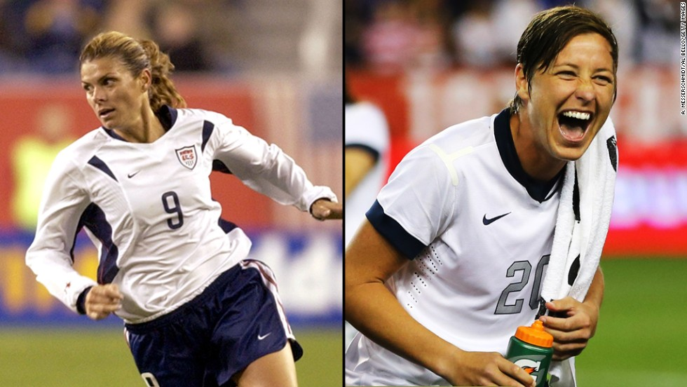 "United States forward Mia Hamm, left, was born the year that Title IX was passed. She played soccer in high school, went on to become the first woman to win FIFA World Player of the Year and was inducted in the National Soccer Hall of Fame. ""[T]here is no question that I eventually benefited from the development of women's soccer with my experience at (the University of North Carolina) and the growth of women's soccer in college,"" she shared <a href=""http://20315511.nhd.weebly.com/mia-hamm.html"" target=""_blank"">about the impact of Title IX</a>. Abby Wambach, right, has since become an international soccer star, and broke Hamm's all time international goal scoring record this year."