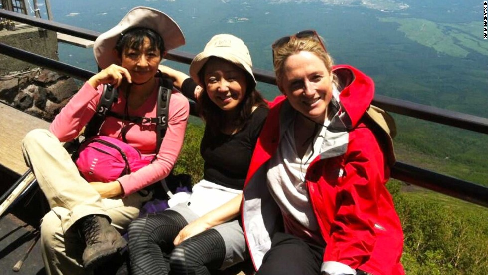 Team Tokyo rest at the first base station on the 3,776-meter peak. Each, year an estimated 300,000 people make the climb.