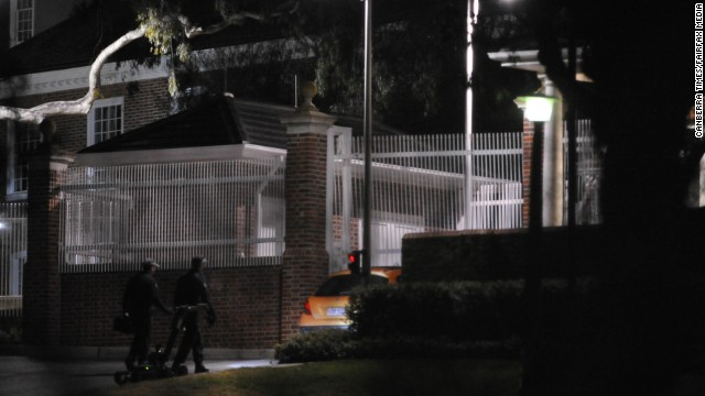 A car crashed into a gate at the U.S. embassy in Canberra, Australia.
