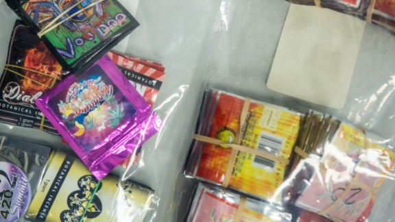 A sample of synthetic drugs is displayed by drug enforcement officials.