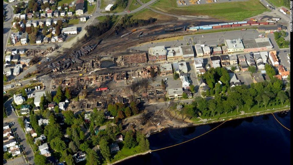 The train explosion wiped out dozens of buildings in downtown Lac-Megantic.<br />