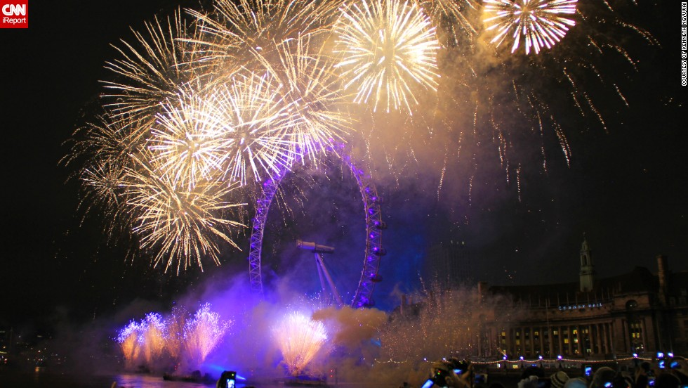 "Kenneth Ngyuwai celebrated the <a href=""http://ireport.cnn.com/docs/DOC-997474"">first moments of 2013 in London</a> where he snapped the crescendo of the New Year's Eve fireworks display on the river Thames. <br /><br />""Fireworks never fail to amaze me. One might say that everything there is to a firework is just a can of chemicals that produces bright light when exploded in mid-air. However, when choreographed properly as in this case with the London Eye, it creates a spectacular once-in-a-lifetime show that everyone can enjoy and talk about with their friends for years to come,"" he says."