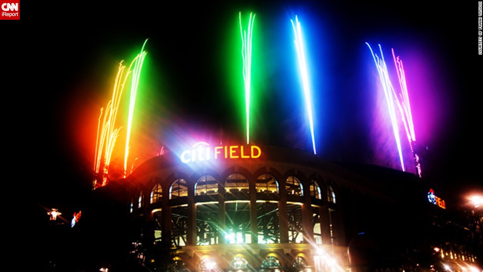 "Frank Vitucci, 37, took this colorful photo during this year's Fourth of July fireworks display at the <a href=""http://ireport.cnn.com/docs/DOC-999906"" target=""_blank"">New York Mets Citi Field ballpark</a>. ""The game was delayed two hours, so I had to wait until 12:30am to capture the images. I had just enough time to catch my train back to Connecticut,"" says the Director of Photography."