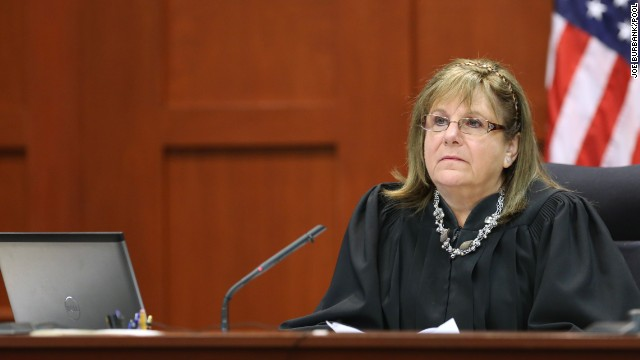 Judge Debra Nelson listens to testimony from forensics animation expert Daniel Shoemaker, in the courtroom for the 21st day of the George Zimmerman trial in Seminole circuit court, in Sanford, Fla., Tuesday, July 9, 2013. Zimmerman is charged with 2nd-degree murder in the fatal shooting of Trayvon Martin, an unarmed teen, in 2012. (Joe Burbank/Orlando Sentinel/POOL)