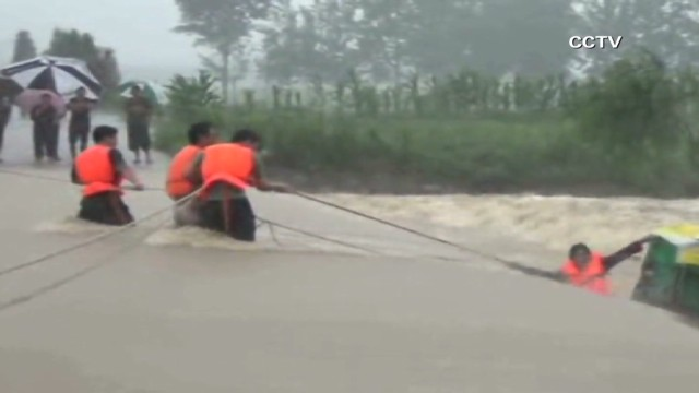 Watch a dramatic flood rescue in China
