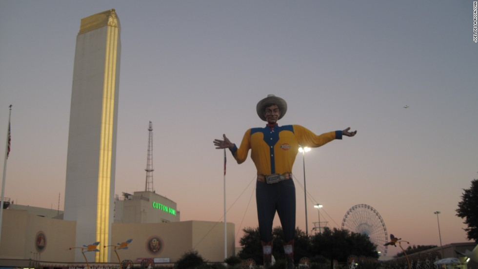 "'Big Tex' welcomed visitors to the State Fair of Texas with a ""Howdy, folks!"" In 2012, a fire caused significant damage to the mascot, but fair officials have vowed to build him bigger and better for 2013."