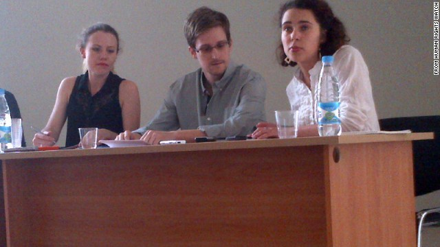 Still of Edward Snowden meeting with activists.