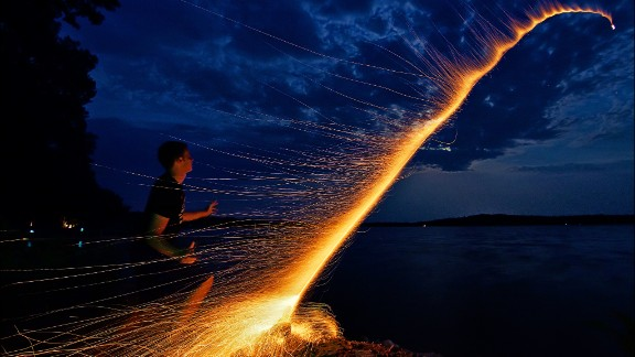 Dan Anderson managed to capture the moment his nephew launched a bottle rocket across one of Minnesota