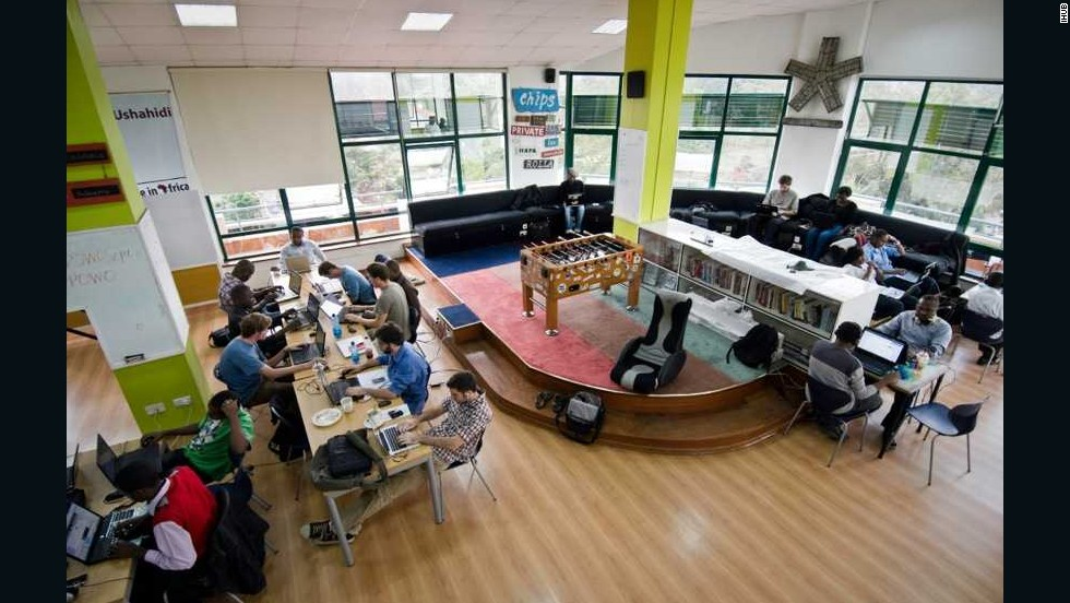 "Nairobi's iHub (pictured) is a co-working space that's become the epicenter of Kenya's burgeoning tech scene. ""Kenya has the fastest mobile adoption rates in Africa,"" said Squibb. ""The revolutionary success of big players like M-Pesa, which has resulted in the prevalence of mobile payments, has equipped cities like Nairobi with the mindset and technology to succeed in the startup space."""
