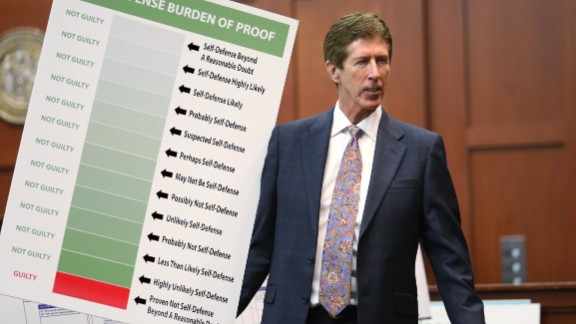 "Zimmerman's attorney Mark O'Mara holds up a chart during closing arguments for the defense on Friday, July 12. ""How many 'what ifs' have you heard from the state in this case?"" O'Mara asked the jury. ""They don't get to ask you that."""