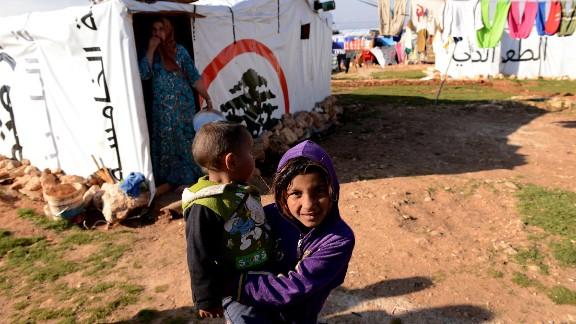 Refugee children in Lebanon's Bekaa Valley.
