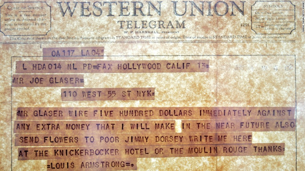 An original Western Union telegram from Louis Armstrong is seen at the new headquarters of Jazz at Lincoln Center on February 17, 2005 in New York City.