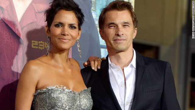 "Halle Berry and Olivier Martinez arrive at the premiere of ""Cloud Atlas"" at the Chinese Theatre in Los Angeles in 2012."