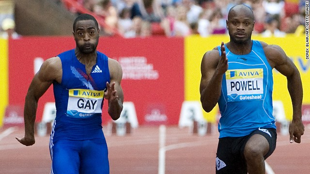 Tyson Gay (left) and Asafa Powell (right) both tested positive for banned substances.